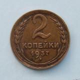 RUSIA  -  2 Kopecks 1937, Europa, Bronz-Aluminiu