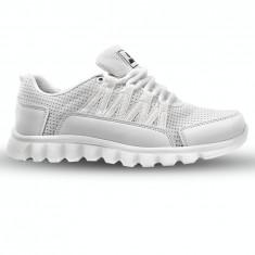 Adidasi pentru barbati panza albi cu talpa din spuma Nstep