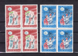 ROMANIA 1985 LP 1121 ANUL INTERNATIONAL AL TINERETULUI BLOCURI DE 4 MNH, Nestampilat