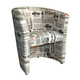Fotoliu, material textil motiv ziare, CUBA