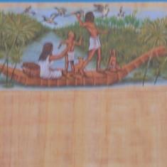EGIPT - PLIC NECIRCULAT IMITATIE PAPIRUS CU O POZA, FAMILIE LA VINATOARE PE NIL