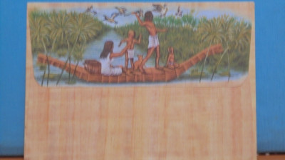 EGIPT - PLIC NECIRCULAT IMITATIE PAPIRUS CU O POZA, FAMILIE LA VINATOARE PE NIL foto