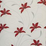 Tapet floral, alb, rosu, dormitor, living, hol, modern, 1146-41