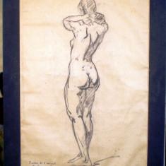 T.036 TABLOU DESEN FEMEIE NUD SEMNAT TEODORESCU GHEORGHE ROMANATI 1950