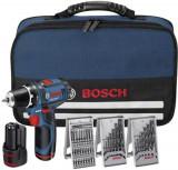 Bosch GSR 10.8 V-EC Masina de gaurit si insurubat cu acumulator, 10.8V + 2 x Acumulatori 1,5Ah + 3 seturi burghie + Geanta Toolbox