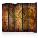 Paravan din 5 parti - Lumea pe harta veche II - 225 x 172 cm, Artgeist