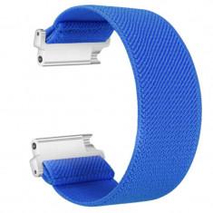 Curea textila elastica, compatibila Samsung Galaxy Watch3 40mm, telescoape Quick Release, Elastic Blue