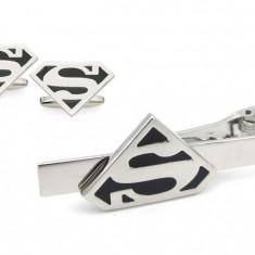 Pachet AC cravata + BUTONI model Superman,  cadou inedit tati, soti, nasi