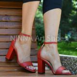 Sandale dama din piele naturala, rosii cu toc de 8cm - NAA54ROSU