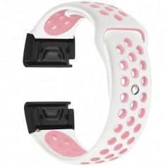 Curea ceas Smartwatch Garmin Fenix 3 / Fenix 5X, 26 mm iUni Silicon Sport Alb-Roz pal