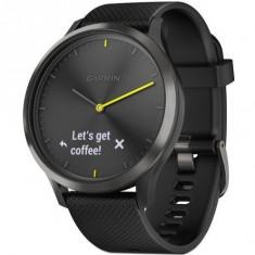 Ceas smartwatch Garmin Vivomove HR Sport, Black Silicon Band, Black