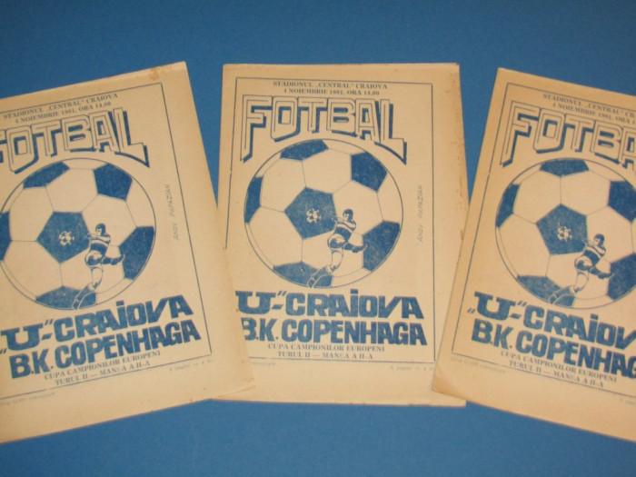 Program meci fotbal UNIVERSITATEA CRAIOVA - BK COPENHAGA(CCE 04.11.1981)