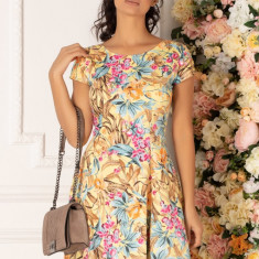 Rochie Raisa galbena cu imprimeu colorat