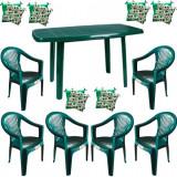 Mobiler gradina masa demontabila MUTUM cu 6 scaune Carnaval culoare verde,6 Pernute scaun B001043 Raki