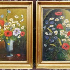 Set 2 tablouri Maci și flori de camp ulei pe panza înrămate 50x36cm, Natura statica, Realism