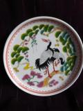 Farfurie desert cu cocori, portelan Japonia, pictata manual, C3