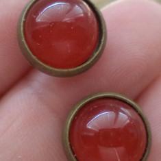 Cercei surub/fluture/ baza bronz - agata rosie