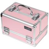 Geanta Manichiura din Aluminiu cu Oglinda, Elegant Pink - LUXORISE