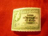 Timbru Ghana 1957 R.Elisabeta supratip. Indep. 6 martie... ,val.1 1/2p, Nestampilat