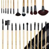 Set 24 pensule machiaj din par natural Fraulein38 Natural Wood + Borseta Cadou