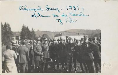 Fotografie ofiteri romani cu sabii 1931 scoala cavalerie Targoviste Campulung foto