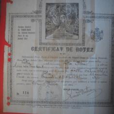 HOPCT DOCUMENT VECHI  NR 284 CERTIFICAT DE BOTEZ BUCURESTI 1926 BIS SF VINERI