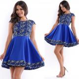 Rochie ocazie scurta cloche albastra cu corset si tiv brodat