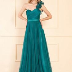 Rochie Ana Radu verde de lux lunga din tul cu croi in clos cu bust buretat si inchidere la spate tip corset