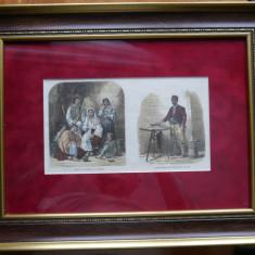 Cromolitografie de secol 19 ; Tigani romani si fierar , din revista engleza