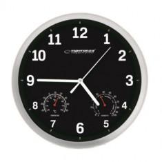 Pachet 2 buc x Ceas de perete cu termometru si higrometru, diametru 25 cm, Esperanza Lyon, alb sau negru
