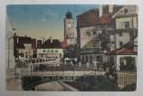 SIBIU - PODUL MINCIUNILOR SI TURNUL CONSILIULUI , CARTE POSTALA ILUSTRATA , POLICROMA, CIRCULATA , DATATA 1928