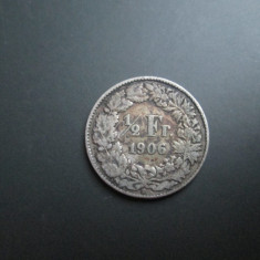 Elvetia _ 1/2 franc 1906 _ moneda din argint, rara