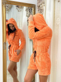 Salopeta dama scurta portocalie plusata cu urechi si fermoar