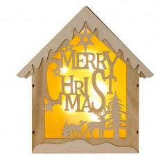 Decoratiune tip casuta din lemn cu lumini, 8 x LED, 30 x 7 cm, inscriptie Merry Christmas