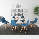 VidaXL Set de masă cu scaune, 7 piese, alb și albastru