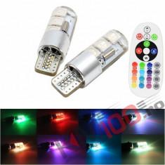 Set pozitii T10 LED RGB cu telecomanda - T10RGBLUX (set 2 buc.)
