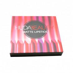 Set Huda Beauty Matte Lipstick, 12 rujuri mate, nuante inchise