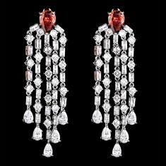 Cercei placati cu Aur 18K si Diamante, Hilary Platinum & Red