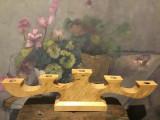 Design / Arta / Lumanari - Sfesnic deosebit din lemn cu 5 brate realizat manual