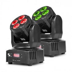 Beamz mhl36, moving head, cap în mișcare, efect led, 2 bucăți, 4 x 9w, RGBW, 4în1 led, 4 show, negru