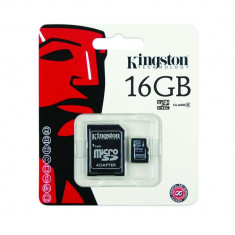 Kingston microSDHC 16Gb  cu adaptor SD