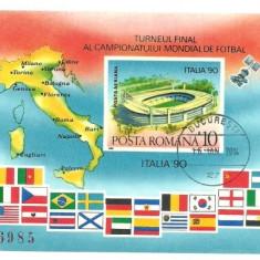 1990 - CM fotbal, colita ndt stampilata