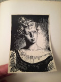 Lot 10 litografii Perahim, 11 x 16 cm, tema Evgheni Oneghin, 1954