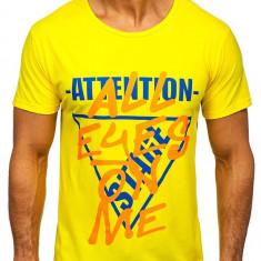 Tricou cu imprimeu bărbați galben Bolf KS1995