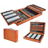 Cumpara ieftin Trusa pictura si desen 174 piese, creioane, vopsea acril, markere, valiza lemn, resigilata
