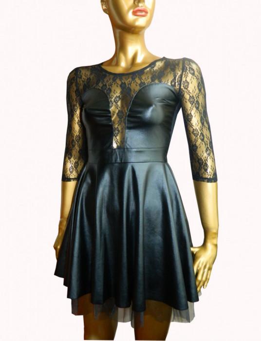 Rochie sexy de club, neagra din piele ecologica si dantela Arya
