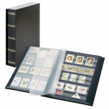 Clasor timbre LINDNER Luxus 30file/60pagini negre, caseta, negru