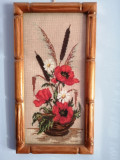 GOBLEN VECHI - Cosulet cu flori- lucrat manual ,inramat ,sub sticla- 18 X34 cm