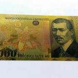 Bancnota 500000 Lei 2000 BNR Ghizari aur 24k colectie certificat UNC gold