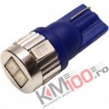 Bec LED T10 6 SMD 5630 12V ALBASTRU COD: PT114